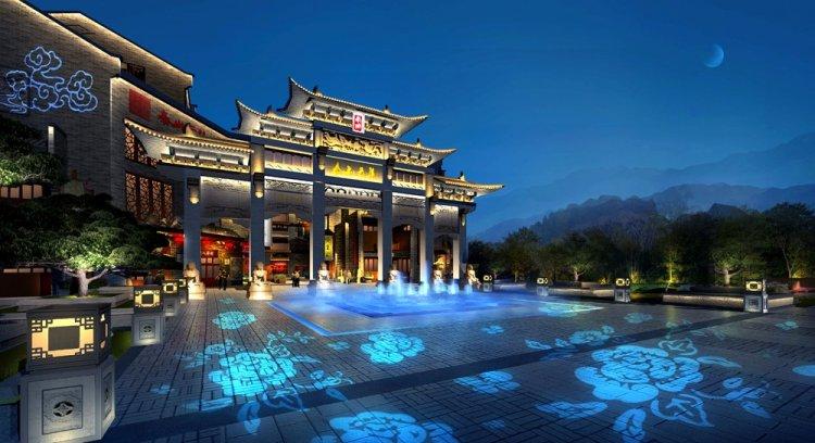 城市景观照明-泰山云集文化商业广场照明设计图片