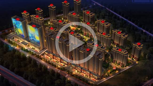 新疆叙品本色智能光电—乌鲁木齐荣华城项目夜景照明工程图片